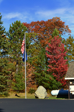 flag pole in fall