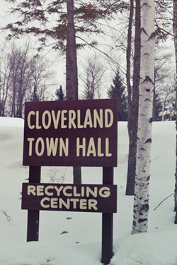 town hall sign in winter